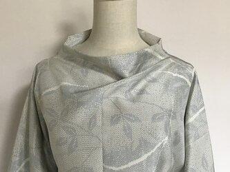 0426    着物リメイク    大きい寸法のボトルネック長袖ブラウス    十日町紬の画像