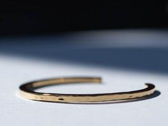 SV999(純銀)Hammer Finish ゴールド ユニセックスバングルS,M,Lの画像