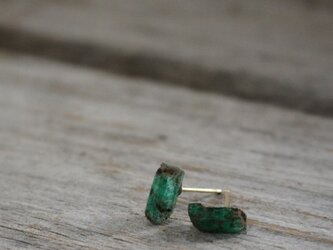 Unheated Natural Emerald Stud Earrings w/K18Goldの画像