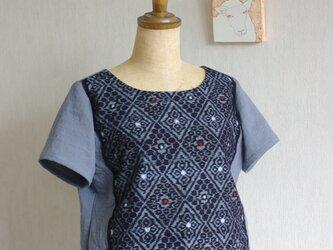 久留米絣とガーゼのTシャツ(菱形模様)の画像