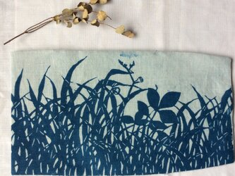 再出品 藍染 新書用 ブックカバー 「草はら」の画像