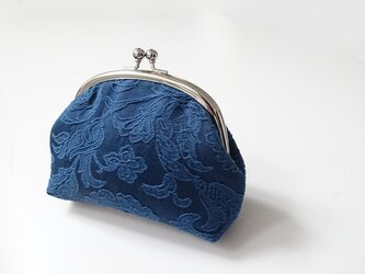フランスジャガードがま口<ブルー>の画像