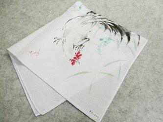 更紗紋様織・綿ハンカチ(鶏)の画像