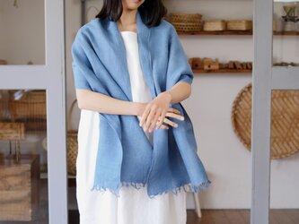 エシカルヘンプ手織りストール 正藍染め藍色 47cm幅の画像