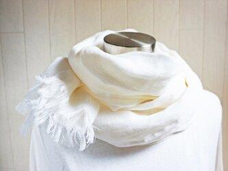 やわらかリネン ダブルガーゼのストール オフホワイトの画像