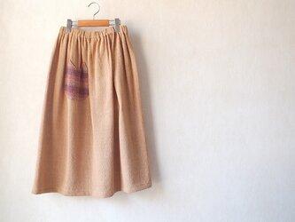 手織り綿のねこポケスカートの画像