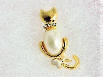 プチ・ギフト♡【タックピン】CAT・パール・ゴールド♪の画像