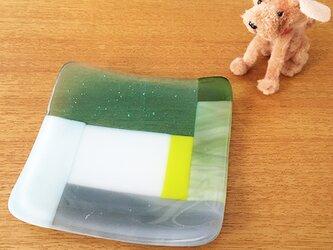 パッチワーク ガラス小皿 プレートタイプ 寒色系 ★ 和菓子 薬味 キャンドル 石鹸 9cmの画像