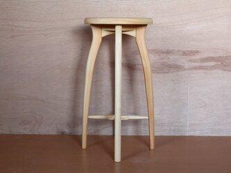 キッチンスツールR・ヒノキ材の画像