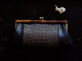 バンブークラッチバッグ*竹製がま口/パーティーや行事/着物の画像