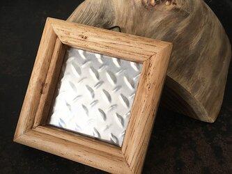 シャビーシック 額飾り アルミ ダイヤモンドプレート ★ プチフレーム インテリア 78mmの画像