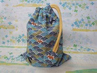 【手縫い】巾着袋☆青海波柄いぬ・青色☆結目カバー付き☆20㎝×15㎝☆給食袋☆コップ袋☆おむすび袋の画像