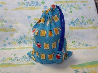 【手縫い】巾着袋☆こんがりトースト柄・青☆結目カバー付き☆20×15㎝☆給食袋☆コップ袋☆おむすび袋の画像