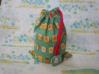 【手縫い】巾着袋☆こんがりトースト柄・緑茶色☆結目カバー付き☆20×15㎝☆給食袋☆コップ袋☆おむすび袋の画像