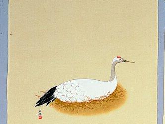 風呂敷 名作 奥村土牛 巣ごもり鶴 55cm幅の画像
