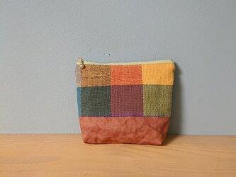 【再販】ポーチ*手織りと柿渋染めの画像