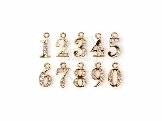 PDT-484-G【2個入り】キュービックジルコニアナンバー「1〜0」,CZ Number Pendantの画像