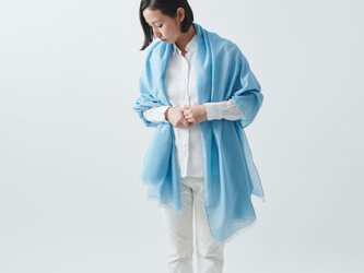 enrica cottonsilk scarf turquoise / natural dyeの画像