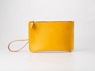 【切線派】本革手縫い持ち手付きセカンドバッグ・クラッチバッグ・ 大収納財布 手染め / 総手縫い  の画像