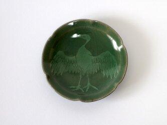輪花皿(鳥 象嵌)の画像