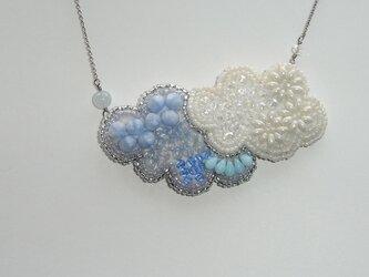 空*アクアマリン ビーズ刺繍ステンレスネックレスの画像