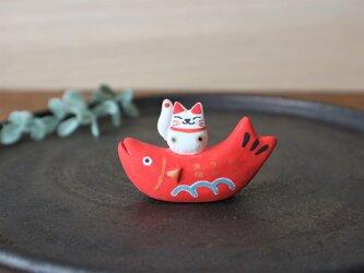 招き猫 on 鯛       《 リニューアル 》の画像