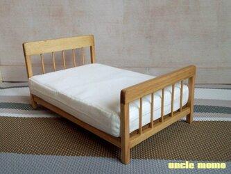 【受注制作】ドール用ベッド ダブル(色:オーク) 1/12ミニチュア家具の画像