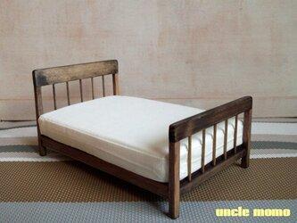 【受注制作】ドール用ベッド ダブル(色:エボニー) 1/12ミニチュア家具の画像