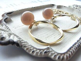 天然石オレンジムーンストーン カボション×リングのイヤリング(ネックレス)2525*の画像