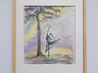 水彩と墨のコラボ画  夢の中の風景 dの画像