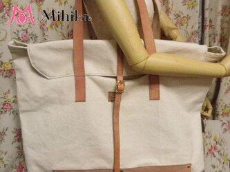☆帆布+ヌメ革キャンパス入れバッグ☆の画像
