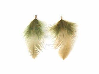 BSC-031-G【5個入り】フェザーチャーム,khaki Feather Charm/30mm x 70mmの画像