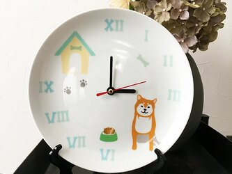 柴犬 白磁プレート 皿時計 2色 ★ 赤柴 黒柴 20cmの画像