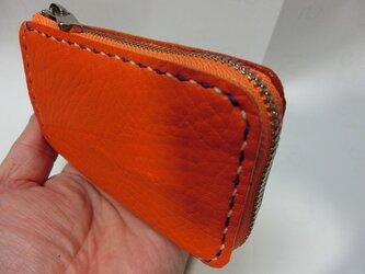 コンパクトL字ファスナー財布(馬革 オレンジ 二色ステッチ)の画像