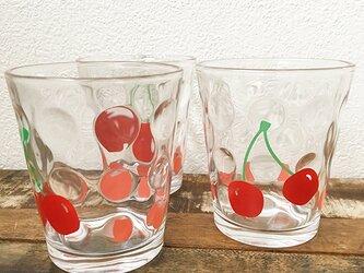 さくらんぼ 種まき ドットグラス ★ フルーツ柄 ガラスコップ 220ccの画像