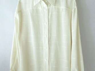 手織り木綿の生地で作ったシャツ・袖口ゴムの画像