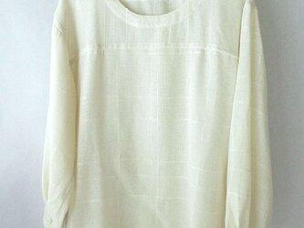 手織り木綿の生地で作ったブラウス・袖口ゴム(2)の画像