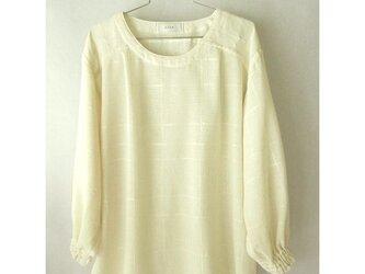 手織り木綿の生地で作ったブラウス・袖口ゴム(3)の画像