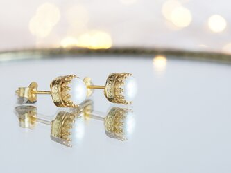 【Silver925】Genuine Pearl Stud Earringsの画像