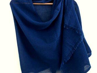 ◆100%自然素材 天然灰汁発酵建て 本藍染◆ コットンリネン 大判ストールの画像