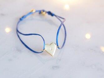 【Silver925】White Topaz Code Bracelet -Heart-の画像
