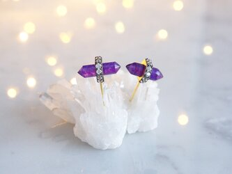 CZ, Purple Aventurine Stud Earringsの画像