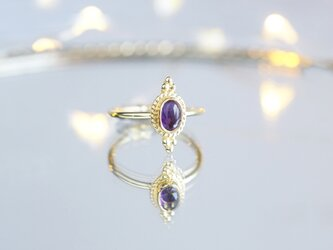【Gold Vermeil/Gemstone】 Open Ring -Amethyst-,Phalange Ring,の画像