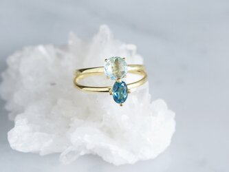 【Gold Vermeil/Gemstone】 Stuck Ring-Blue Topaz-の画像