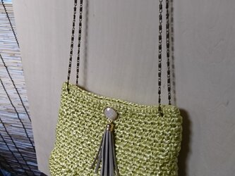 手編み *ミモザ色 バッグ②*バッグの中にポーチ付き♪ショルダーバッグ お財布バッグ 送料無料【HANDMADE*HK*】の画像