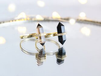 【Gold Vermeil/Gemstone】 Stuck Ring -Smoky Quartz-の画像