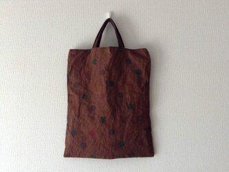水玉と柿渋かばん - 柿渋染めのトートバッグの画像
