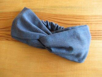 ねじりヘアバンド(幅広タイプ) チェック、ブルー 2の画像