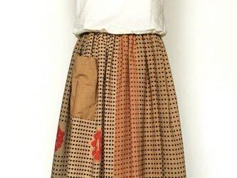 柿渋染手ぬぐいのリメイクスカートの画像