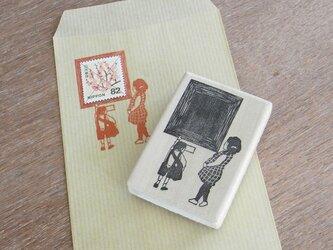 切手枠はんこ 美術館の親子の画像